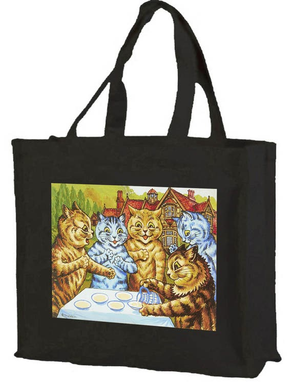 Louis Wain Garden Party Cats Cotton Shopping Bag with gusset and long handles, 3 colour options