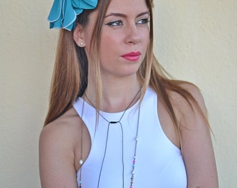 Turquoise Head Scarf, Turquoise Hair Wrap, Womens Headband, Head scarf, Hair Tie, Headcovering, Head Covering, Retro Head Bow, Vintage Bow