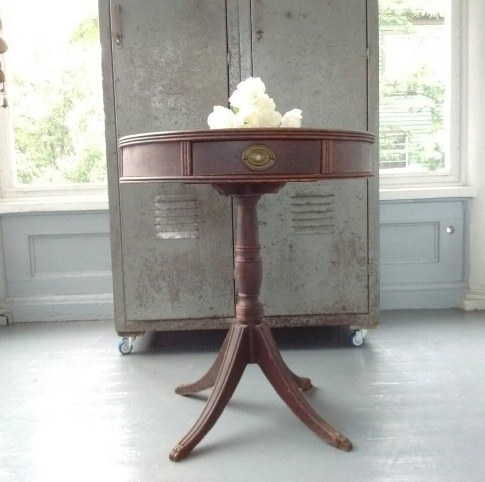 Antique Entrance Table Drum Pedestal End Lamp