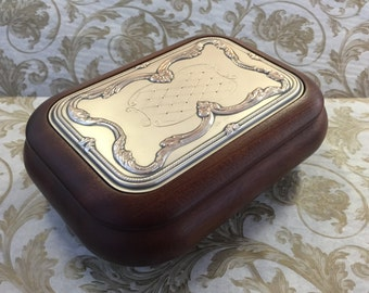 SALE ITEM :Vintage Axis Agento Sterling Silver & Mahogany Jewelry Box Casket    --Ready to Ship--