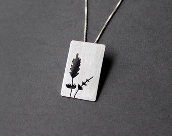Handcrafted Lavender Pendant Necklace - Sterling Silver - Art Jewelry