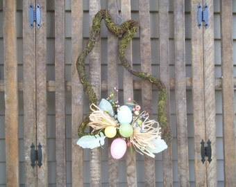 Easter Wreath, Bunny Wreath, Easter Bunny Wreath, Twig Wreath, Moss Wreath, Spring Wreath, Shabby Wreath, Rag Wreath