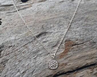 Tiny Sterling Silver Pave Charm Necklace, Tiny Silver Necklace, Pave Necklace, Dainty Necklace, Tiny Necklace, Bridal, Wedding, Valentine