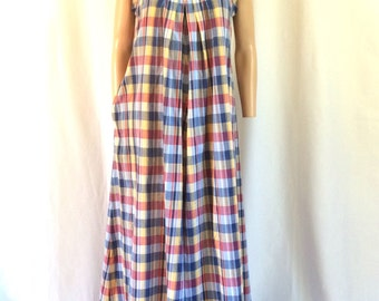 1970s Liberty House Velvet Trimmed Cotton Maxi Tent Dress Sz M/L