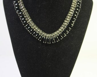 Vintage Prong set French Jet and Clear Rhinestone Choker and bracelet set