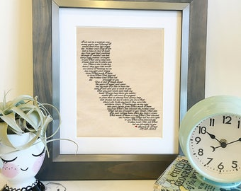 Choose your own lyrics and state   Personalized Wedding Song Lyrics Cotton Print   2nd Anniversary Gift Husband or Wife   Frame not includ