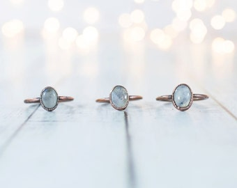 Rainbow moonstone ring | June Birthstone Ring | Moonstone stacking ring | Birthstone jewelry | Organic stone jewelry