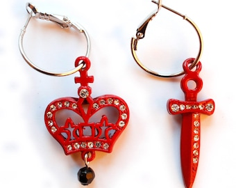red crown and dagger earrings with rhinestone
