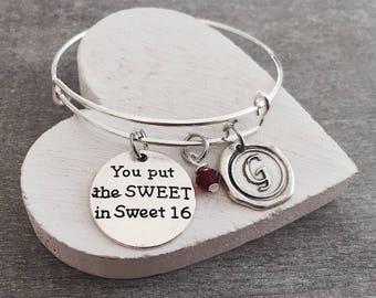 SALE, You put the SWEET, in SWEET 16, Sweet 16 Gift, sweet 16, Sweet 16 Bracelet, Sweet 16 Jewelry, Silver Bracelet, Gifts,  Charm Bracelet