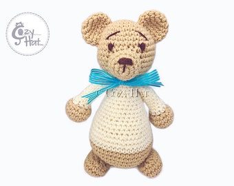 READY TO SHIP! Classic Teddy Bear Stuffed Animal with Bow Hand Made Crochet One Of A Kind Toy Doll. Baby Shower Gift.