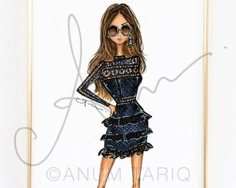 Fashion Illustration Print, Self-Portrait Lace