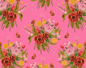 1 yard  SLEEPING PORCH (Cotton Lawn) by Heather Ross for Windham Fabrics Wildflower Pink