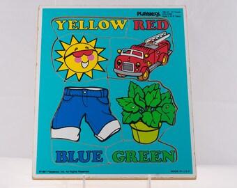 Vintage Playskool Colors Puzzle, Vintage Playskool Wood Puzzle, 1980's Playskool Puzzle, '80's Playskool Puzzle