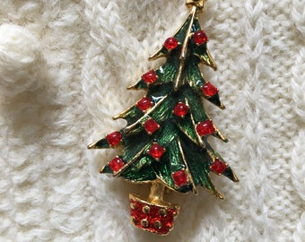 Vintage Christmas Tree Pin, Retro Christmas Tree Brooch