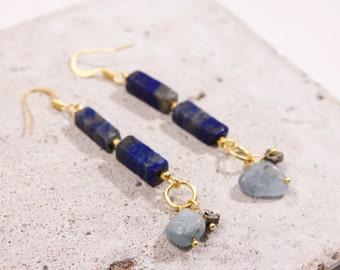 Lapis lazuli, aquamarine, pyrite earrings, gold end 24 carats