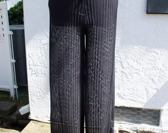 Black Mesh Cutout Long Coverup Pants // Size Medium