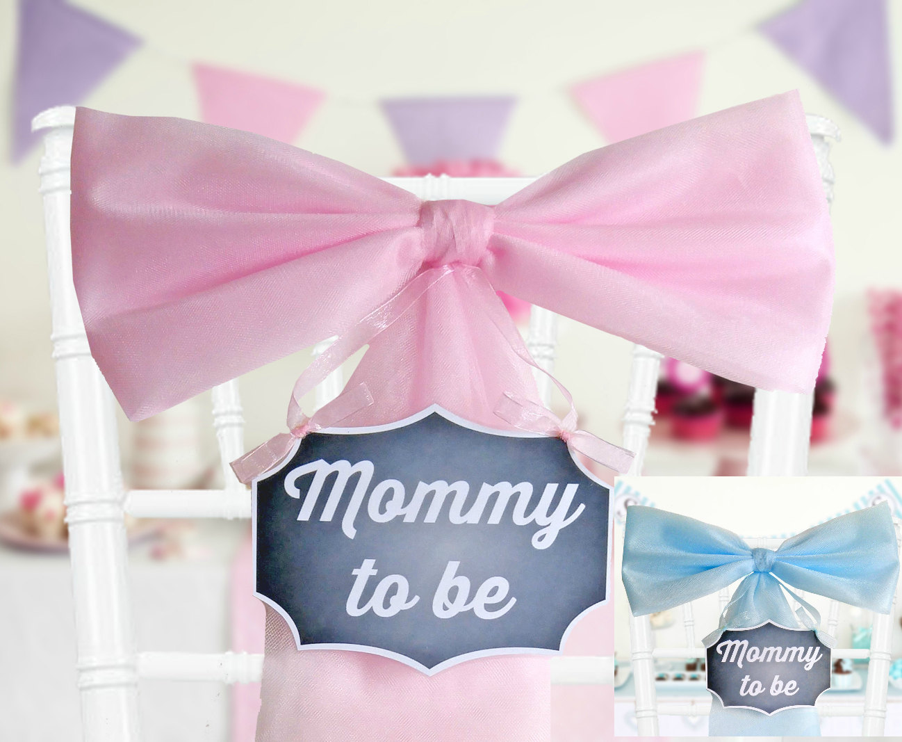 mommy to be sign multiple colors baby shower chair bow