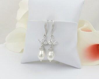 FREE US Ship Cubic Zirconia And Swarovski Pearl Bridal Earrings Swarovski Pearl Bridal Drop Earrings CZ Bridal Earrings Bridal Jewelry