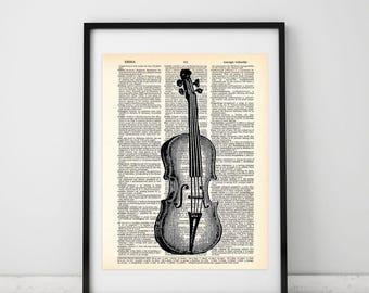 Violin Vintage Illustration Dictionary art print - Upcycled dictionary art - Book print page art #083