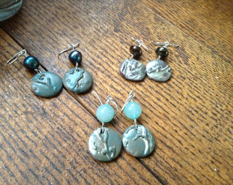Handmade Stoneware Clay earrings- Var 2, 3