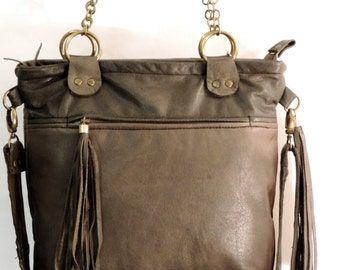 Handmade recycled leather handbag