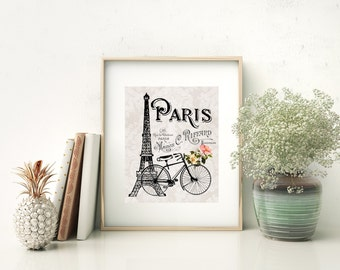 Eiffel Tower and Bicycle - French Parisian 8x10 Print, French Country Cottage Style, Gray and Black with Pink Flowers Art Paris Print