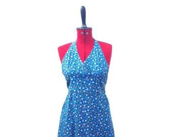 Hippie HALTERNECK Dress - Floral - 70's Sundress - Flower Power - Festival Dress - XS
