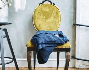 Linen SHEET FLAT, bed sheet. Queen sheet, King sheets, or Twin size sheet. Night blue color linen Pre washed handmade by Lenoklinen