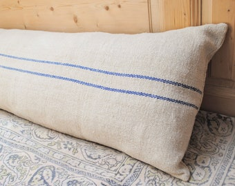 Authentic Grain Sack Body Pillow Sham Blue Stripes / Antique linen / Handwoven hemp fabric / Handmade Pillow Sham