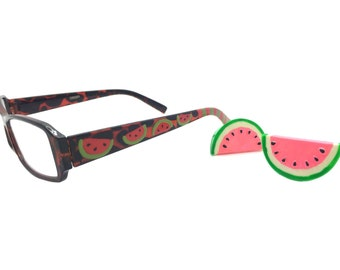 Women's 1.25 Strength Hand Painted Watermelon Reading Glasses with Pink and Green Stripes