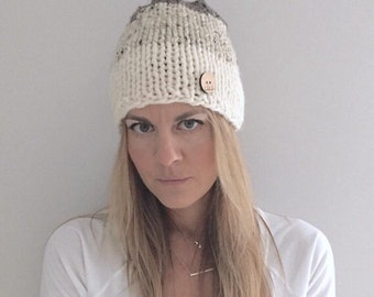 Chunky Knit Tri-Colored Ombre Slouchy Hat   oatmeal   beige/tan/taupe brown   THE BUTTONE
