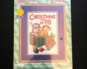 Christmas Joy, Cat Christmas Counted Cross Stitch The Spirit of Christmas English Spanish French Directions, Janlynn Needlepoint Cats 157-82