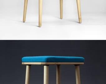 Scandinavian Modern Upholstered Stool in Natural Oak / walnut / beech