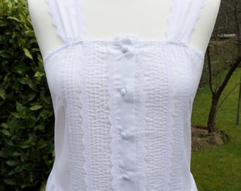 Vintage Nightgown Label  St Michael Made in UK White nightdress size UK 10 - 12