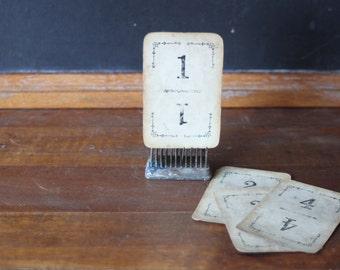 Antique Flinch Card Game, Vintage Number Cards, Wedding Numbers, Table Numbers