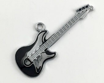 1 electric guitar charm black enamel and silver tone 49mm #CH 194