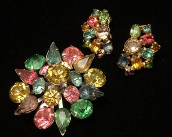 Pastel Rhinestone Brooch Pin and Earrings