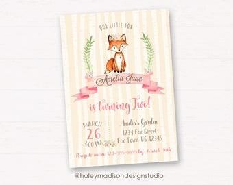 Fox Birthday Invitation, Woodland Fox Invitation, Fox whimsical, Fox girl, Fox boho invitation DIGITA FILE