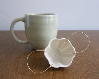 Tea Strainer | Porcelain & Brass | Ceramic Strainer for Loose Leaf Tea