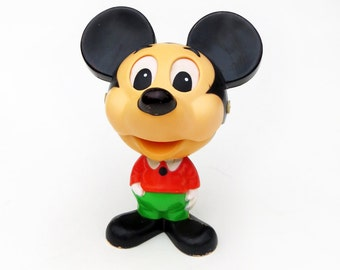 1970s Talking Mickey Mouse Toy, Mattel Chatter Chum Animated Pull-String Toy, Works and Looks Great, Marked Walt Disney Productions
