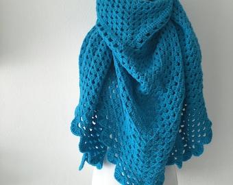Crochet shawl turqoise
