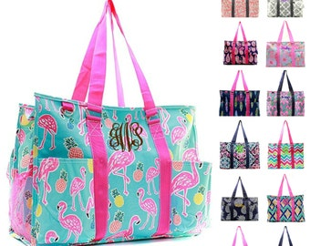 Monogrammed Large Beach Bag Organizing Utility Tote Diaper Personalized Monogram Name Embroidered Seahorse Owl Arrow Camo Whale Pink Blue