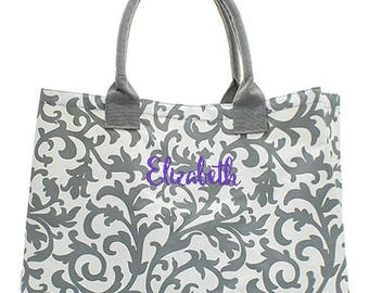 Personalized Damask Beach Bag Monogrammed Tote Gray Floral Oversized Canvas Large Market Diaper Baby Shopping Embroidered Monogram