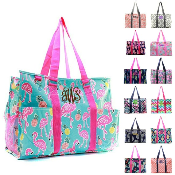 monogrammed large beach bag organizing utility tote diaper. Black Bedroom Furniture Sets. Home Design Ideas