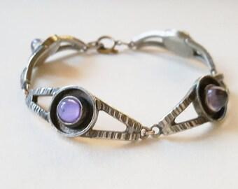 Brutalist pewter and glass bracelet, Lysgaard Design, Denmark, 1970s (F674)