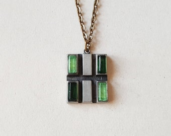 Rune Tennesmed Modernist Pewter and Glass Pendant, Sweden, 1970s (F956)