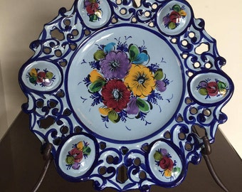 hand painted pottery, vintage Portuguese display plate, cut out pottery plates, pierced pottery plate, hand painted, floral, blue plate