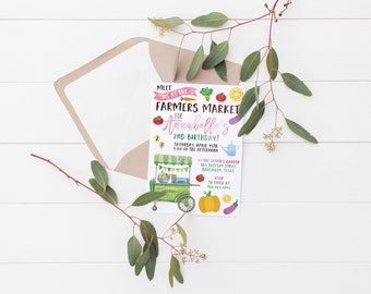 Printable Farmers Market Kids Birthday Invitation