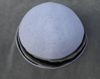 White Kippah. Handmade Crochet Kippah. Hand knitting Yarmulke. White Yarn of Cotton with Gray stripes design. Everyday use or Shabbat