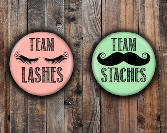 Lashes or Staches Gender reveal pins.  Peach and green.